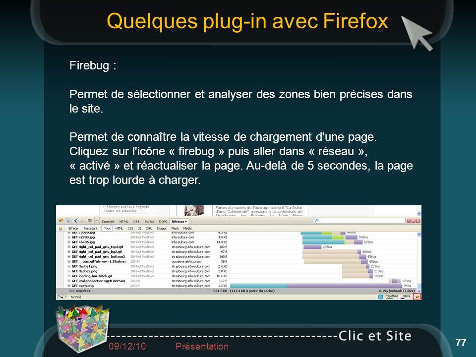 Firebug : Permet de sélectionner et analyser des zones bien précises dans le site. Permet de connaître la vitesse de chargement d'une page. Cliquez su