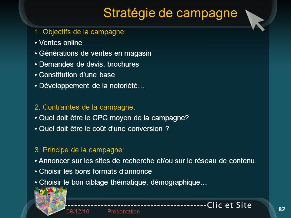 1. Objectifs de la campagne: Ventes online Générations de ventes en magasin Demandes de devis, brochures Constitution dune base Développement de la no