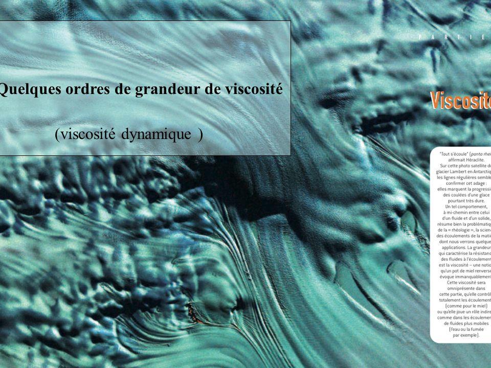 La viscosité Quelques ordres de grandeur de viscosité (viscosité dynamique )