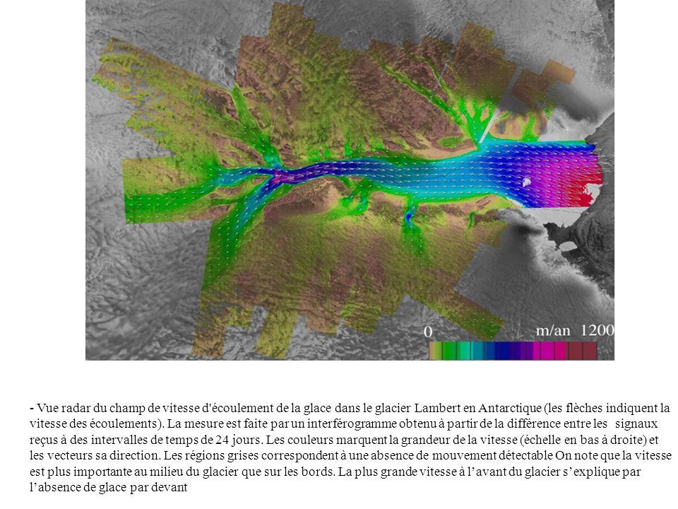 - Vue radar du champ de vitesse d écoulement de la glace dans le glacier Lambert en Antarctique (les flèches indiquent la vitesse des écoulements).