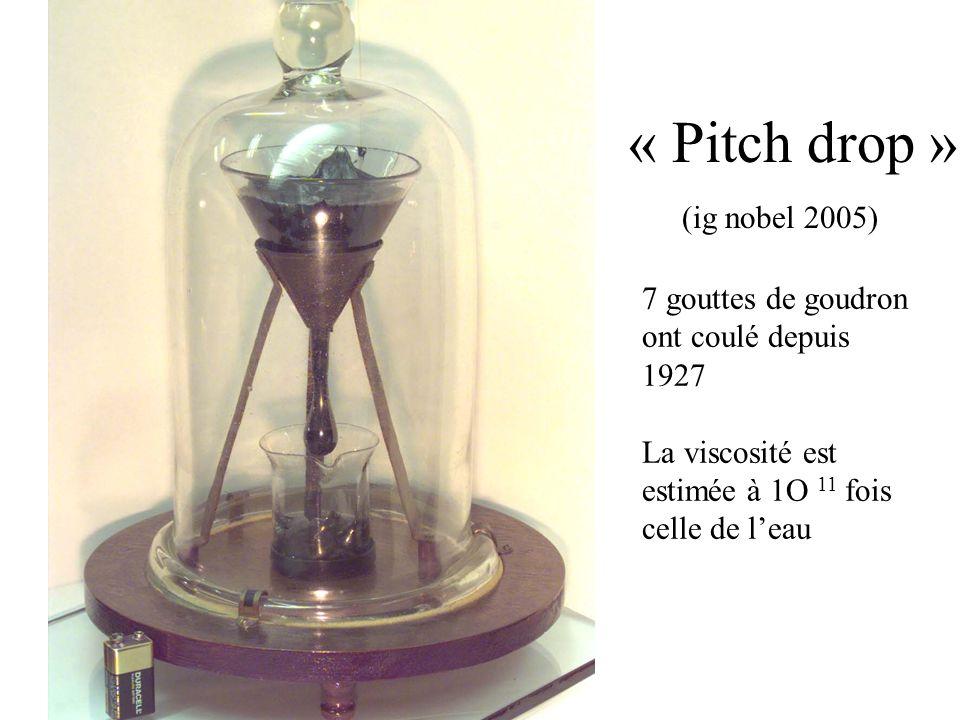 « Pitch drop » (ig nobel 2005) 7 gouttes de goudron ont coulé depuis 1927 La viscosité est estimée à 1O 11 fois celle de leau
