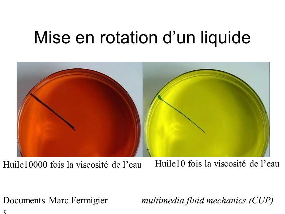 Mise en rotation dun liquide Huile10000 fois la viscosité de leau Huile10 fois la viscosité de leau Documents Marc Fermigier multimedia fluid mechanics (CUP) s
