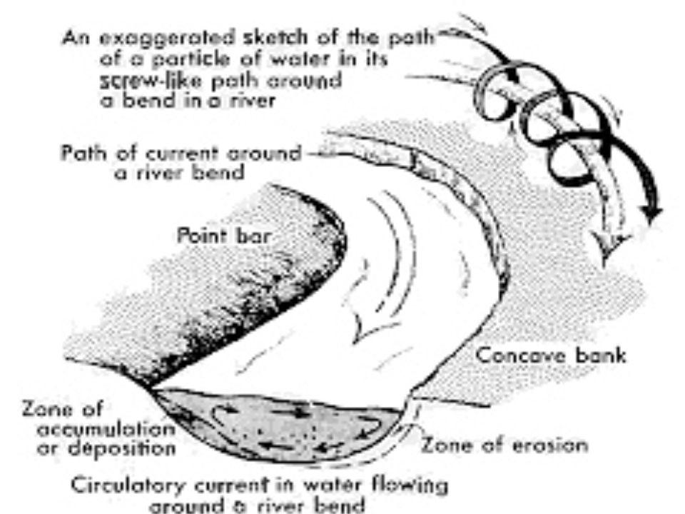 Figure 3 - Ecoulement à lintérieur dun méandre : à lécoulement principal le long de la rivière se superpose un écoulement secondaire transverse aux rives : celui-ci est orienté vers lextérieur du méandre près de la surface et en sens inverse près du fond.