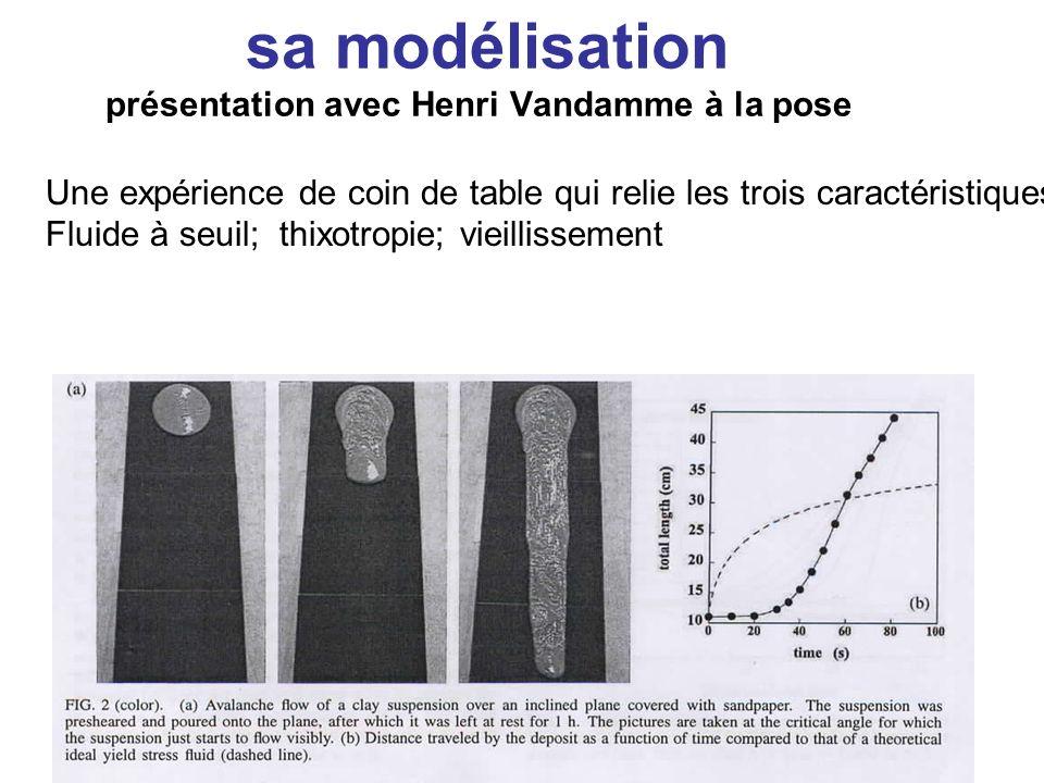 Une expérience de coin de table qui relie les trois caractéristiques : Fluide à seuil; thixotropie; vieillissement sa modélisation présentation avec Henri Vandamme à la pose