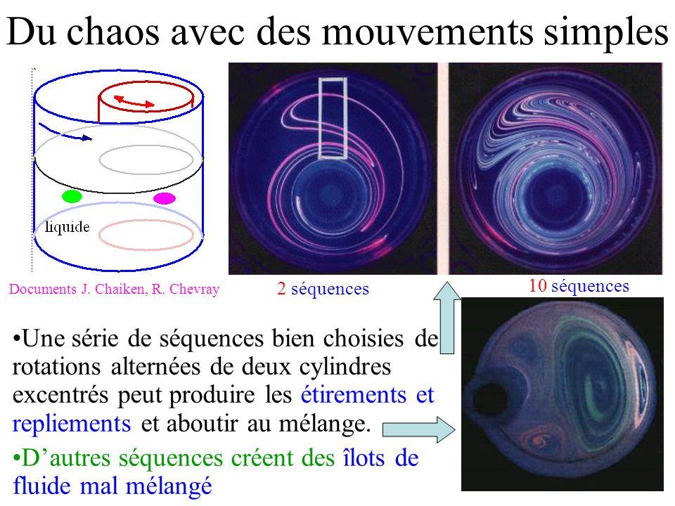 Du chaos avec des mouvements simples Une série de séquences bien choisies de rotations alternées de deux cylindres excentrés peut produire les étirements et repliements et aboutir au mélange.