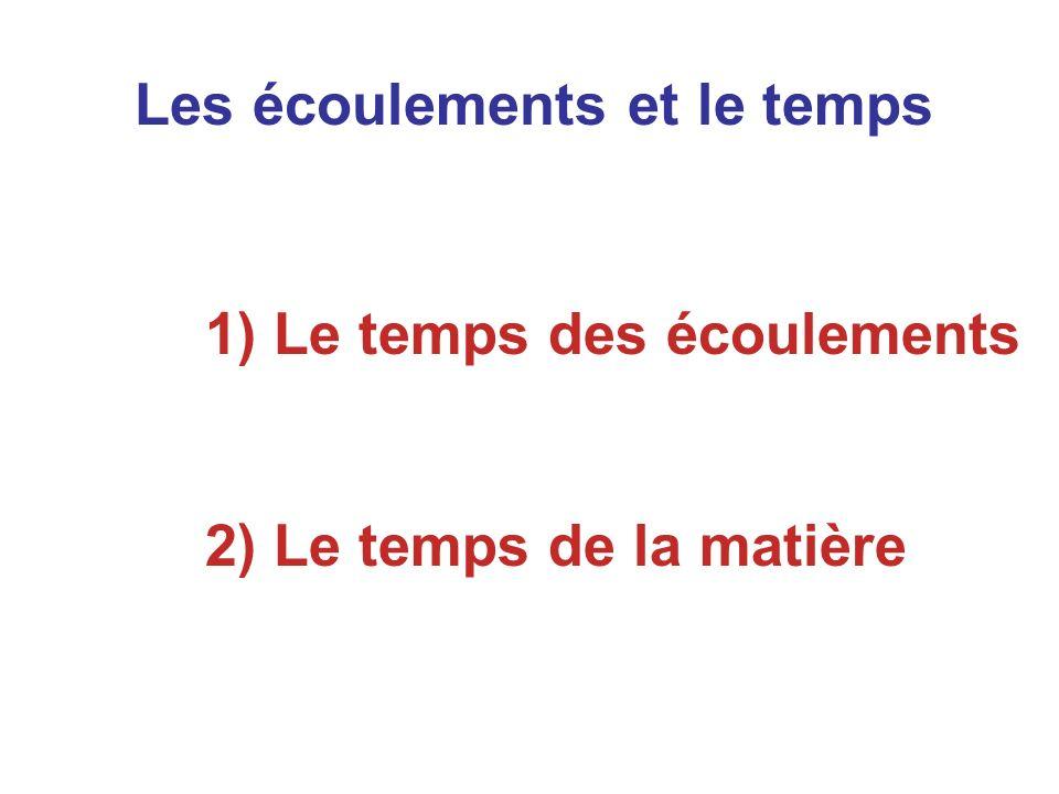 Les écoulements et le temps 1) Le temps des écoulements 2) Le temps de la matière