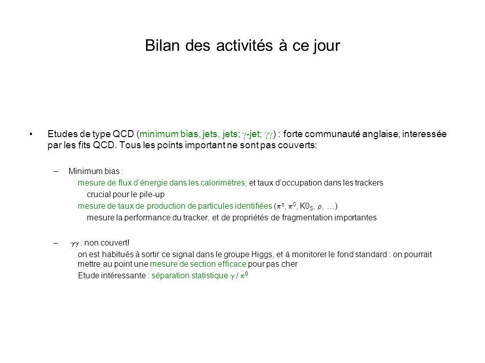Bilan des activités à ce jour Etudes de type QCD (minimum bias, jets, jets; -jet; ) : forte communauté anglaise, interessée par les fits QCD.