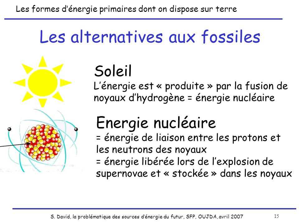 S. David, la problématique des sources dénergie du futur, SFP, OUJDA, avril 2007 15 Les formes dénergie primaires dont on dispose sur terre Soleil Lén