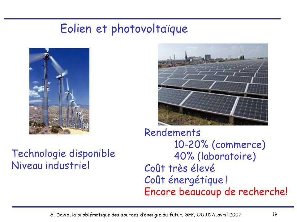 S. David, la problématique des sources dénergie du futur, SFP, OUJDA, avril 2007 19 Eolien et photovoltaïque Technologie disponible Niveau industriel