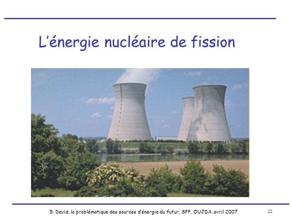 S. David, la problématique des sources dénergie du futur, SFP, OUJDA, avril 2007 22 Lénergie nucléaire de fission