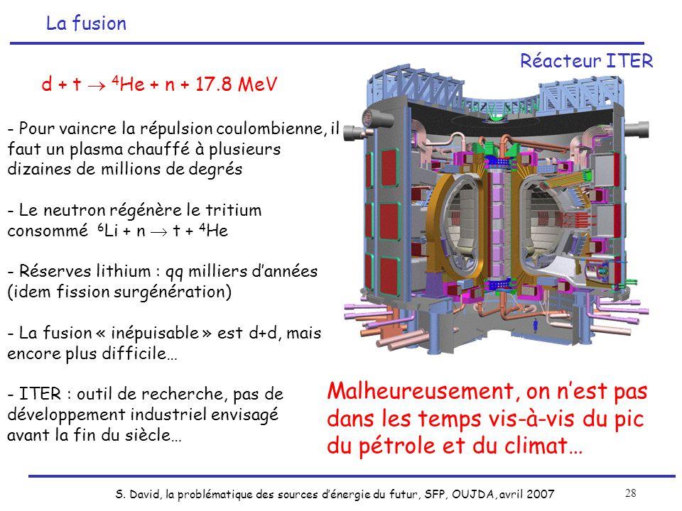 S. David, la problématique des sources dénergie du futur, SFP, OUJDA, avril 2007 28 d + t 4 He + n + 17.8 MeV - Pour vaincre la répulsion coulombienne