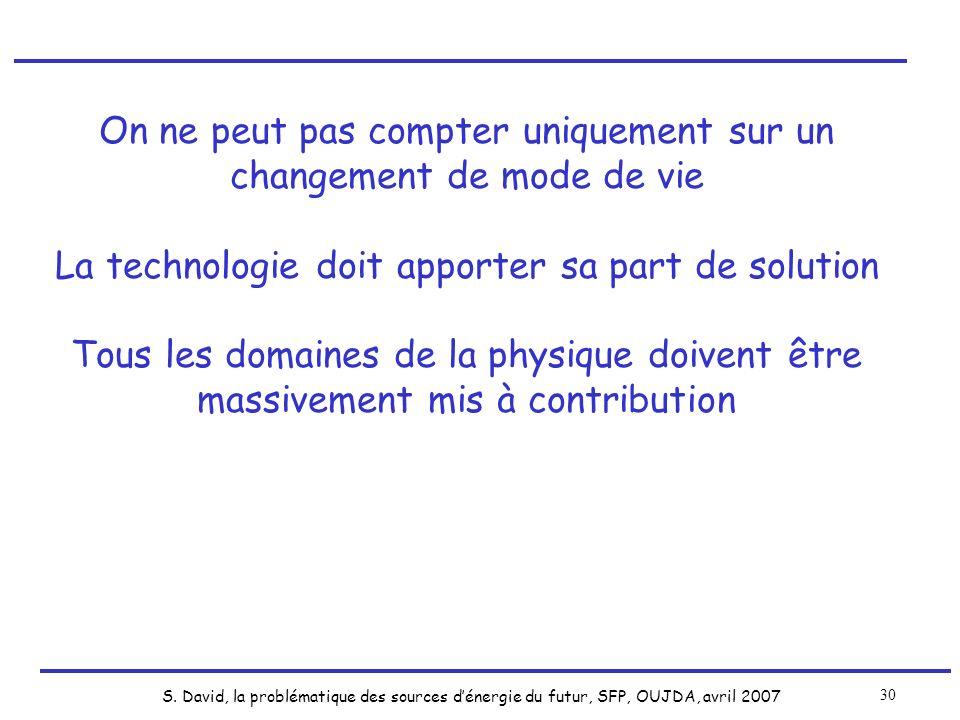 S. David, la problématique des sources dénergie du futur, SFP, OUJDA, avril 2007 30 On ne peut pas compter uniquement sur un changement de mode de vie