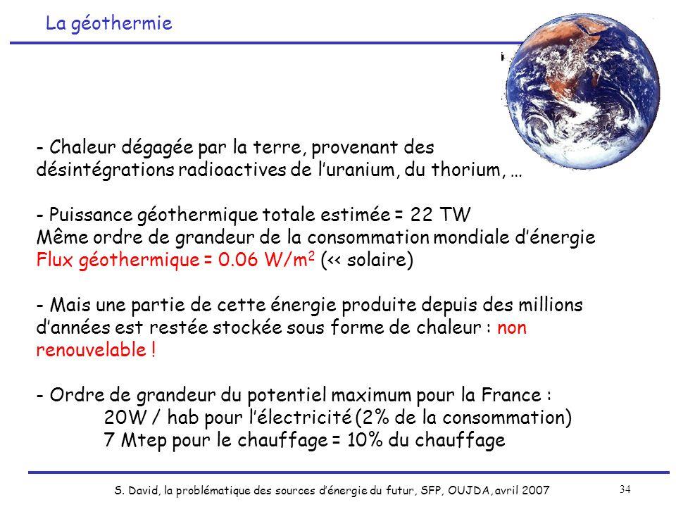 S. David, la problématique des sources dénergie du futur, SFP, OUJDA, avril 2007 34 - Chaleur dégagée par la terre, provenant des désintégrations radi