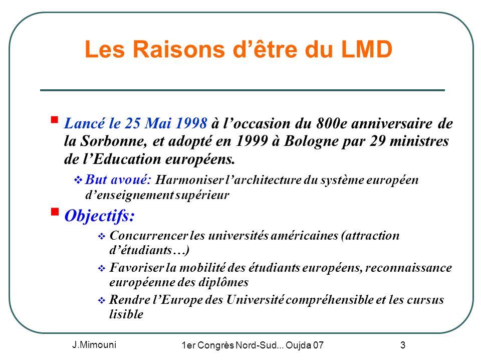 J.Mimouni 1er Congrès Nord-Sud... Oujda 07 3 Les Raisons dêtre du LMD Lancé le 25 Mai 1998 à loccasion du 800e anniversaire de la Sorbonne, et adopté