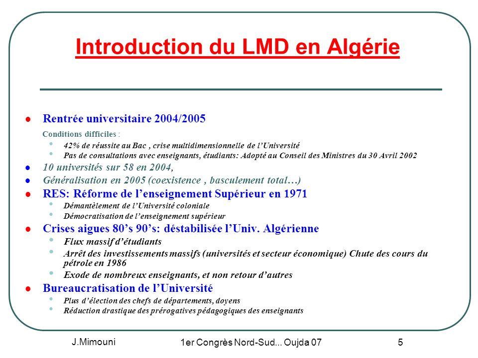 J.Mimouni 1er Congrès Nord-Sud... Oujda 07 5 Introduction du LMD en Algérie Rentrée universitaire 2004/2005 Conditions difficiles : 42% de réussite au
