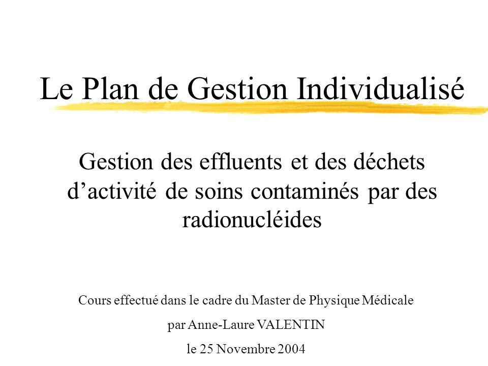 Cours effectué dans le cadre du Master de Physique Médicale par Anne-Laure VALENTIN le 25 Novembre 2004 Le Plan de Gestion Individualisé Gestion des e