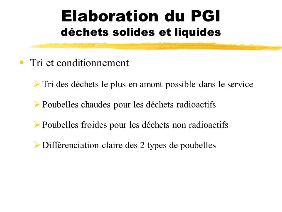Elaboration du PGI déchets solides et liquides Tri et conditionnement Tri des déchets le plus en amont possible dans le service Poubelles chaudes pour