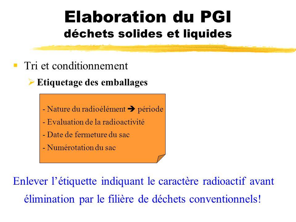 Tri et conditionnement Etiquetage des emballages - Nature du radioélément période - Evaluation de la radioactivité - Date de fermeture du sac - Numéro