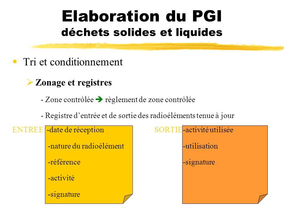 Tri et conditionnement Zonage et registres - Zone contrôlée règlement de zone contrôlée - Registre dentrée et de sortie des radioéléments tenue à jour