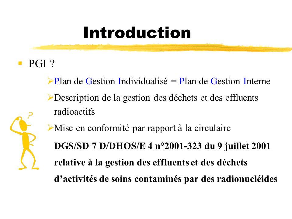 Introduction PGI ? Plan de Gestion Individualisé = Plan de Gestion Interne Description de la gestion des déchets et des effluents radioactifs Mise en