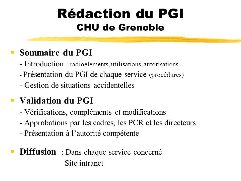 Rédaction du PGI CHU de Grenoble Sommaire du PGI - Introduction : radioéléments, utilisations, autorisations - Présentation du PGI de chaque service (