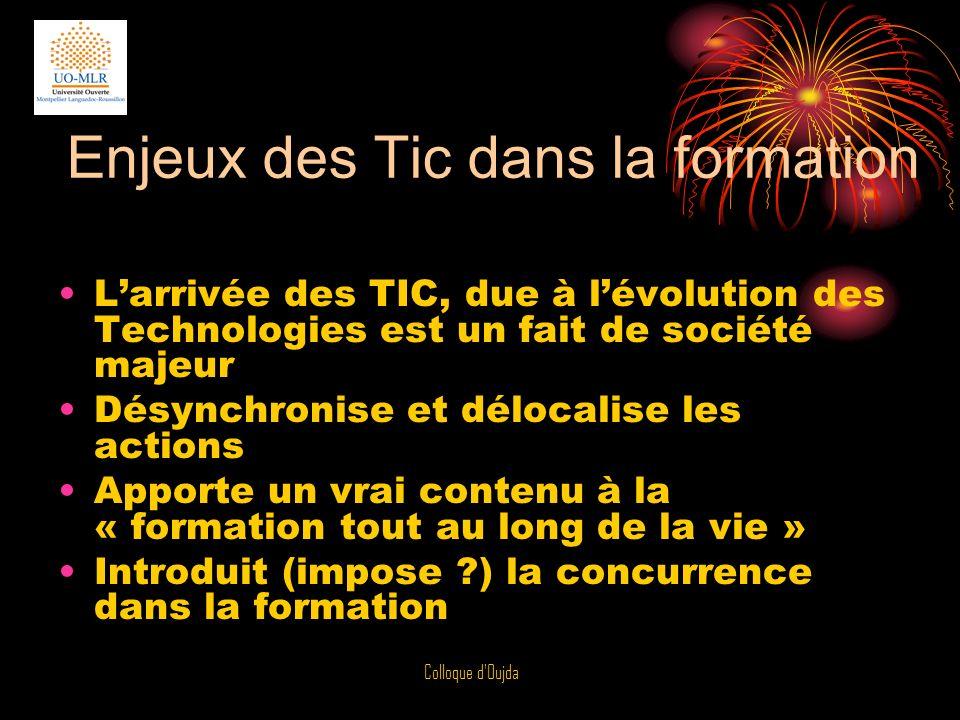 Colloque d'Oujda Enjeux des Tic dans la formation Larrivée des TIC, due à lévolution des Technologies est un fait de société majeur Désynchronise et d