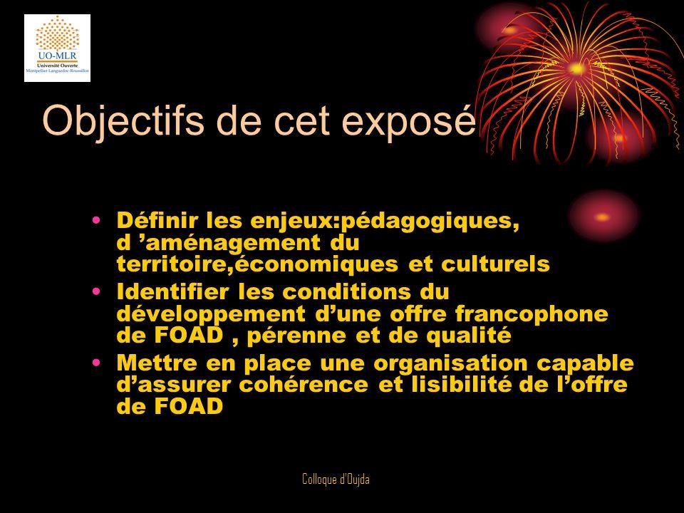 Colloque d Oujda Une Université Numérique par définition (UNIVERSALITE) contient toutes les disciplines (EX: Université de Montpellier):UOMLR,GRECO…..