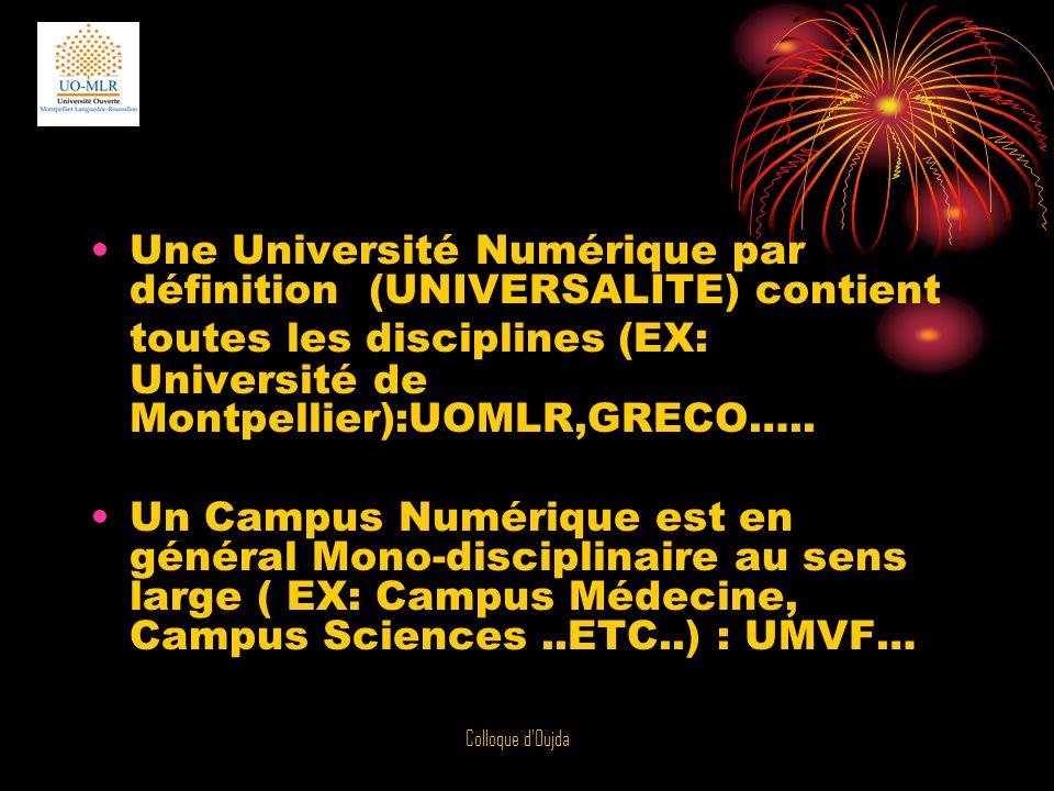 Colloque d'Oujda Une Université Numérique par définition (UNIVERSALITE) contient toutes les disciplines (EX: Université de Montpellier):UOMLR,GRECO…..