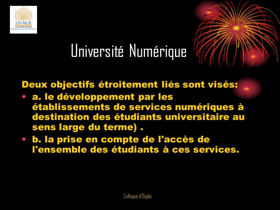 Colloque d Oujda Les Universités Numériques en Région peuvent passer des accords avec des Universités étrangères comme cest le cas quand elles ne sont pas numériques pour délivrer en commun un certain nombre de diplômes.