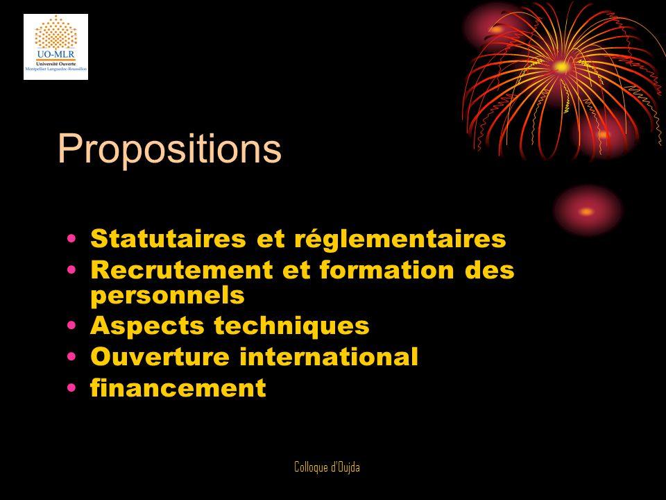 Colloque d'Oujda Propositions Statutaires et réglementaires Recrutement et formation des personnels Aspects techniques Ouverture international finance