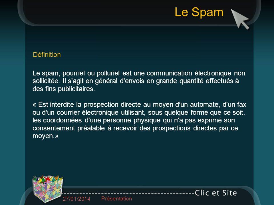 Le spam, pourriel ou polluriel est une communication électronique non sollicitée.