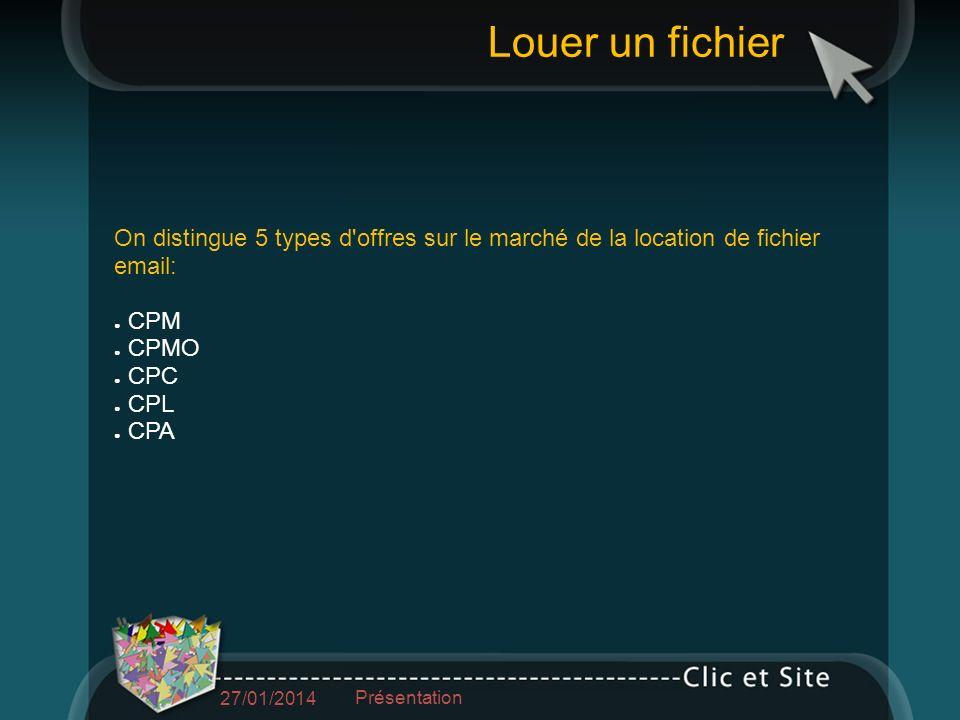 On distingue 5 types d offres sur le marché de la location de fichier email: CPM CPMO CPC CPL CPA Louer un fichier 27/01/2014 Présentation