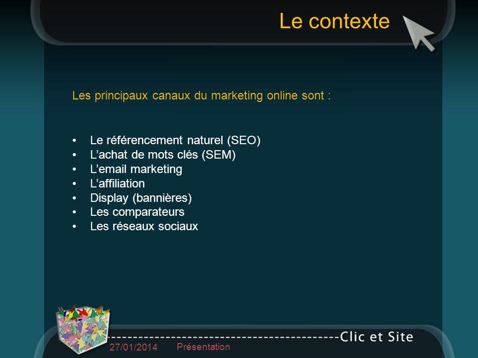 1.Utiliser son propre fichier client 2.Louer un fichier (CPM, performance) 3.Se constituer un fichier (jeu concours, co-registration…) La cible dune campagne email 27/01/2014 Présentation