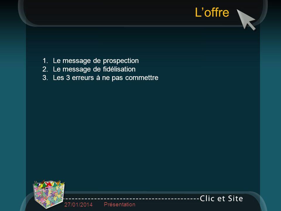1.Le message de prospection 2.Le message de fidélisation 3.Les 3 erreurs à ne pas commettre Loffre 27/01/2014 Présentation