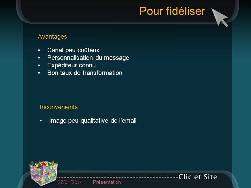 Le message de fidélisation 27/01/2014 Présentation