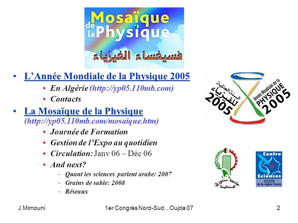 J.Mimouni1er Congrès Nord-Sud... Oujda 072 LAnnée Mondiale de la Physique 2005 En Algérie (http://yp05.110mb.com) Contacts La Mosaïque de la Physique
