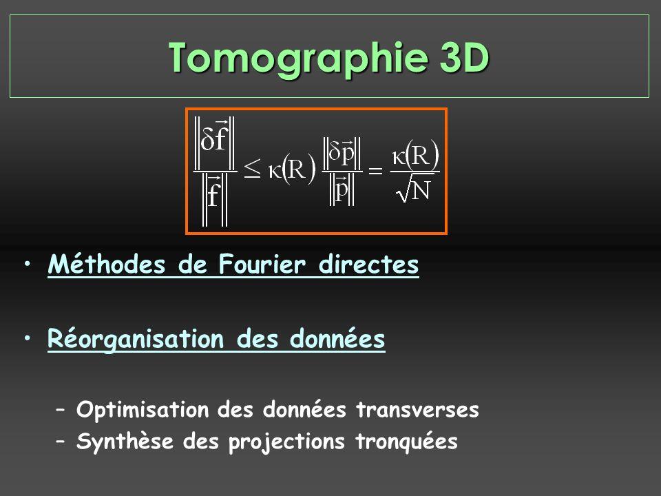 Méthodes de Fourier directes Réorganisation des données –Optimisation des données transverses –Synthèse des projections tronquées Tomographie 3D