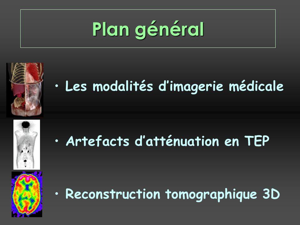 Plan général Les modalités dimagerie médicale Artefacts datténuation en TEP Reconstruction tomographique 3D
