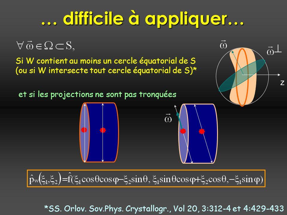 … difficile à appliquer… Si W contient au moins un cercle équatorial de S (ou si W intersecte tout cercle équatorial de S)* et si les projections ne sont pas tronquées z *SS.