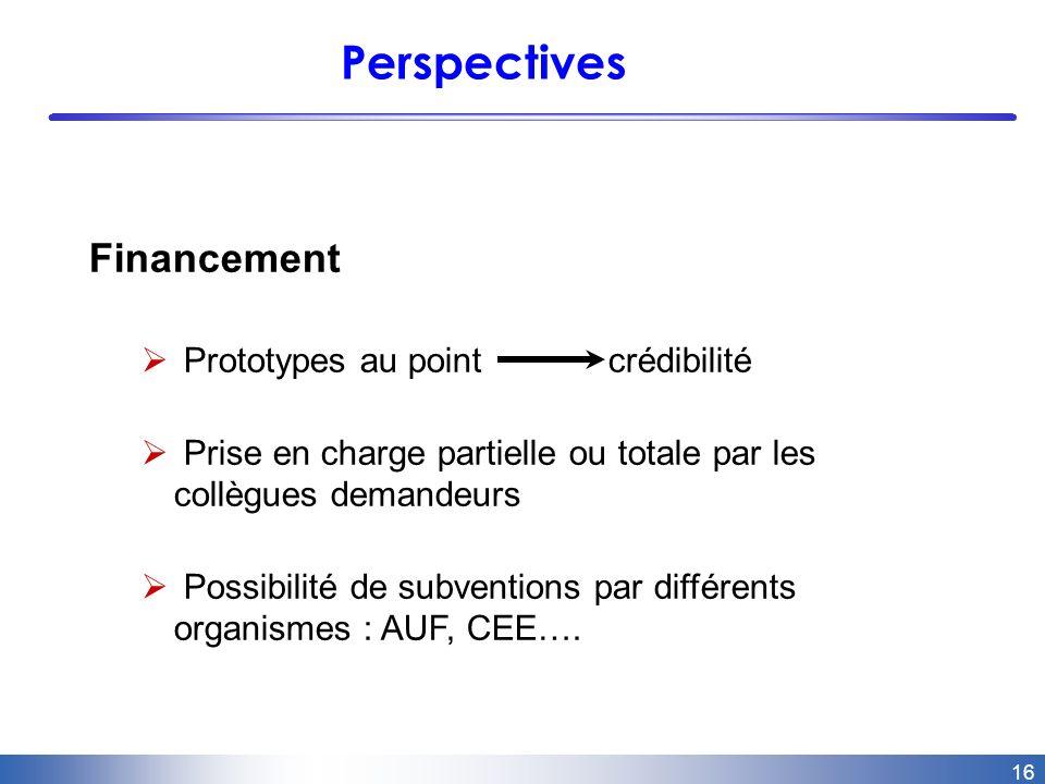 16 Perspectives Financement Prototypes au point crédibilité Prise en charge partielle ou totale par les collègues demandeurs Possibilité de subventions par différents organismes : AUF, CEE….