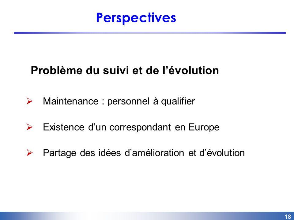 18 Perspectives Problème du suivi et de lévolution Maintenance : personnel à qualifier Existence dun correspondant en Europe Partage des idées damélioration et dévolution