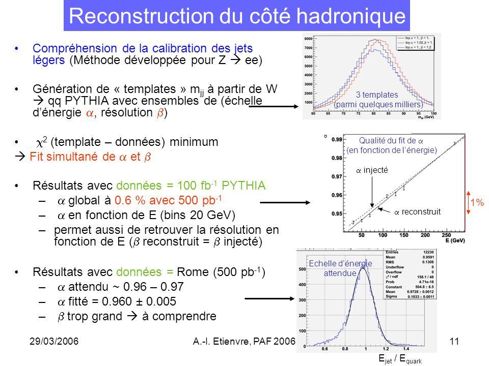 29/03/2006A.-I. Etienvre, PAF 200611 Reconstruction du côté hadronique Compréhension de la calibration des jets légers (Méthode développée pour Z ee)