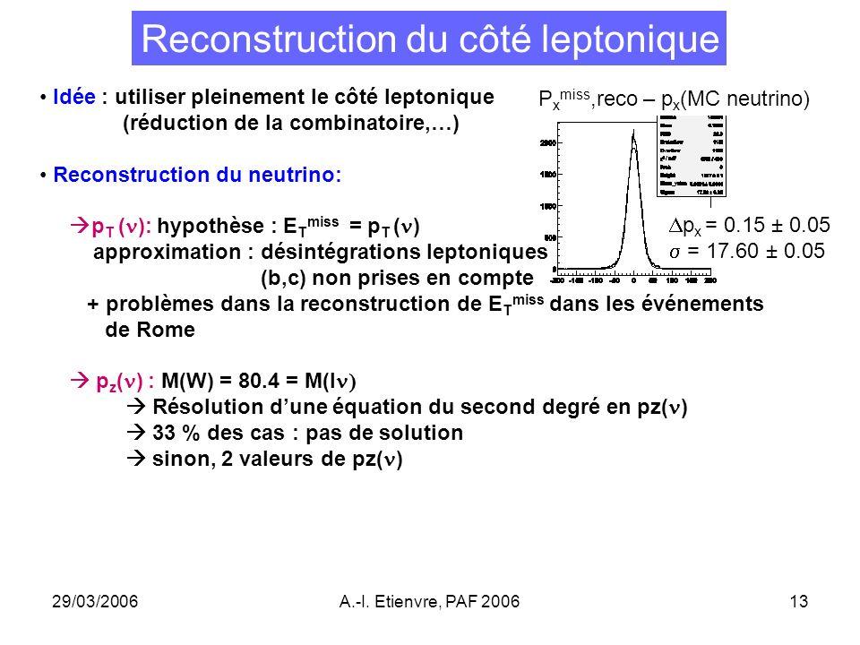 29/03/2006A.-I. Etienvre, PAF 200613 Reconstruction du côté leptonique Idée : utiliser pleinement le côté leptonique (réduction de la combinatoire,…)