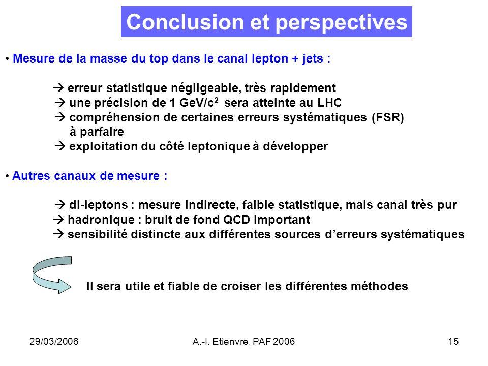 29/03/2006A.-I. Etienvre, PAF 200615 Conclusion et perspectives Mesure de la masse du top dans le canal lepton + jets : erreur statistique négligeable