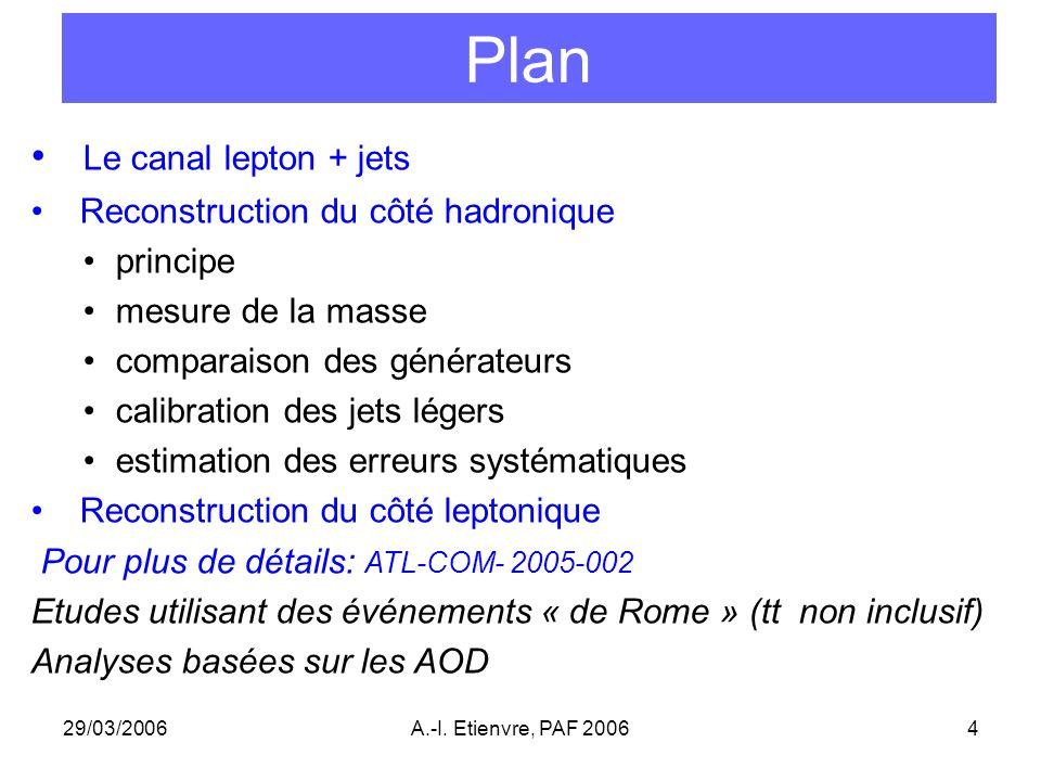 29/03/2006A.-I. Etienvre, PAF 20064 Plan Le canal lepton + jets Reconstruction du côté hadronique principe mesure de la masse comparaison des générate
