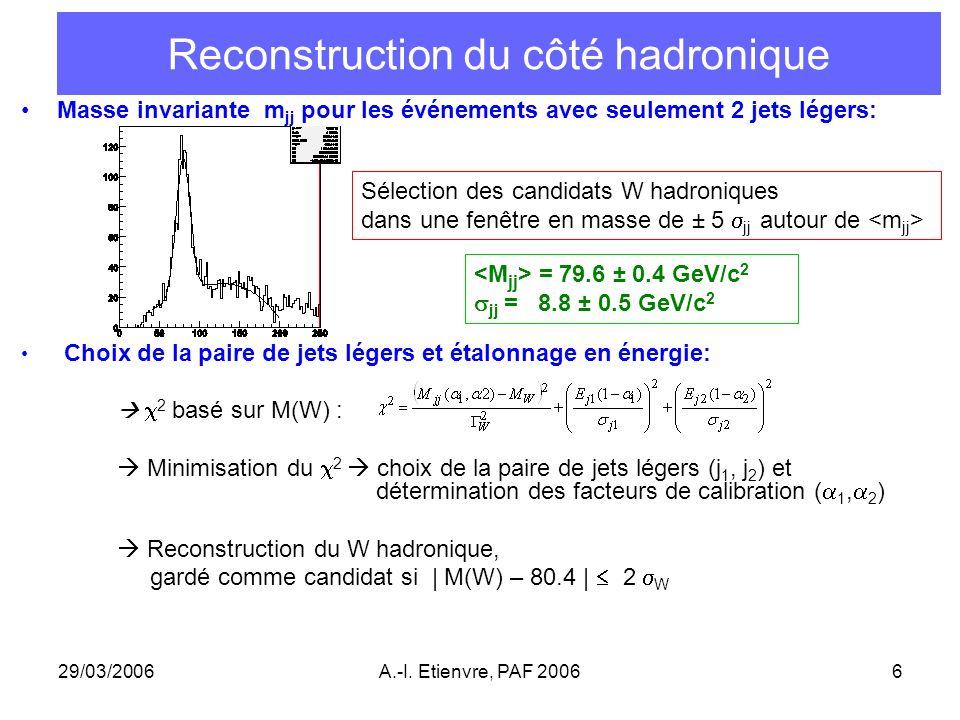 29/03/2006A.-I. Etienvre, PAF 20066 Reconstruction du côté hadronique Masse invariante m jj pour les événements avec seulement 2 jets légers: Choix de