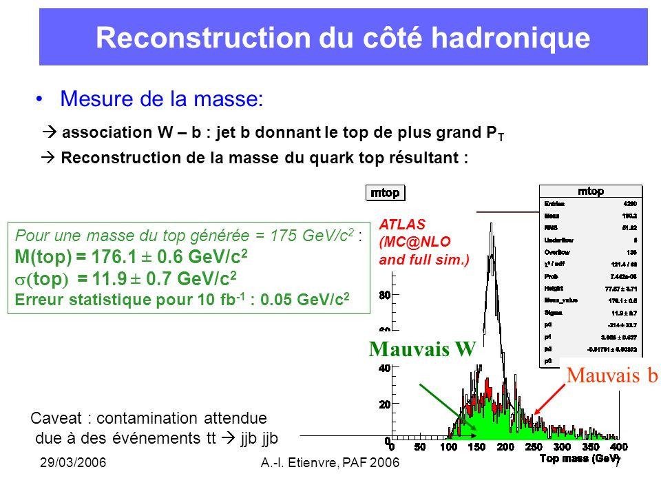 29/03/2006A.-I. Etienvre, PAF 20067 Reconstruction du côté hadronique Mesure de la masse: association W – b : jet b donnant le top de plus grand P T R