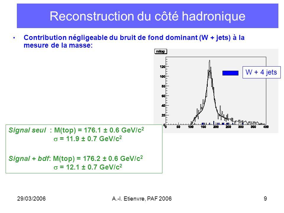 29/03/2006A.-I. Etienvre, PAF 20069 Reconstruction du côté hadronique Contribution négligeable du bruit de fond dominant (W + jets) à la mesure de la