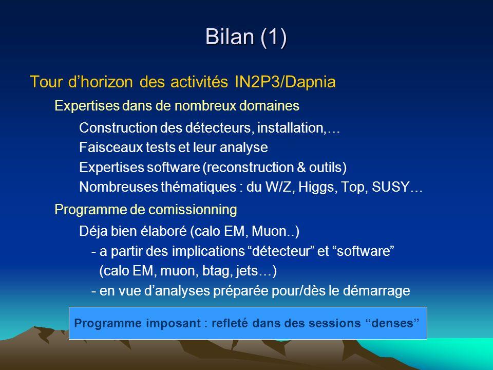 Bilan (1) Tour dhorizon des activités IN2P3/Dapnia Expertises dans de nombreux domaines Construction des détecteurs, installation,… Faisceaux tests et leur analyse Expertises software (reconstruction & outils) Nombreuses thématiques : du W/Z, Higgs, Top, SUSY… Programme de comissionning Déja bien élaboré (calo EM, Muon..) - a partir des implications détecteur et software (calo EM, muon, btag, jets…) - en vue danalyses préparée pour/dès le démarrage Programme imposant : refleté dans des sessions denses