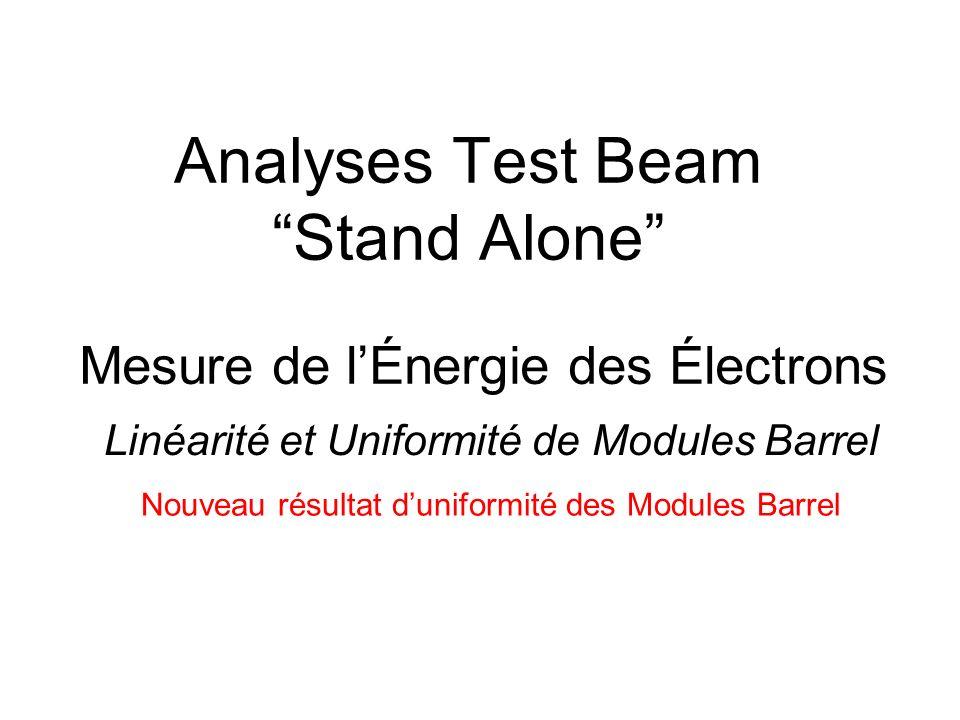 Enjeux et Generalites Enjeux : Évaluer les performances de quatre modules de calorimètre (dont deux de production) dans un environnement relativement simple (Stand Alone), avec lélectronique ATLAS et une simulation complète GEANT 4 Soit 6% du calorimètre Barrel ATLAS (32 modules) Afin de valider dans un environnement simple : - Électronique dacquisition et de calibration - Simulation complète - Méthode de reconstruction des électrons - Performances attendues Analyses principales : Identification, mesures énergie (uniformité et linéarité), résolution en énergie, temps, et position, discrimination / 0 et sensibilité aux muons.